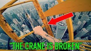CRANE LADDER BROKE WHILST CLIMBING *HONG KONG CRANE CLIMB*