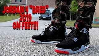 "EARLY REVIEW!!! AIR JORDAN 4 BLACK CEMENT ""BRED"" ON FEET!!!"