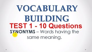 English Synonyms  MCQs Test 1 for Bank PO Exams - English Vocabulary