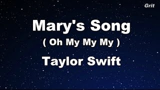 Mary's Song (Oh My My My) - Taylor Swift Karaoke【No Guide Melody】