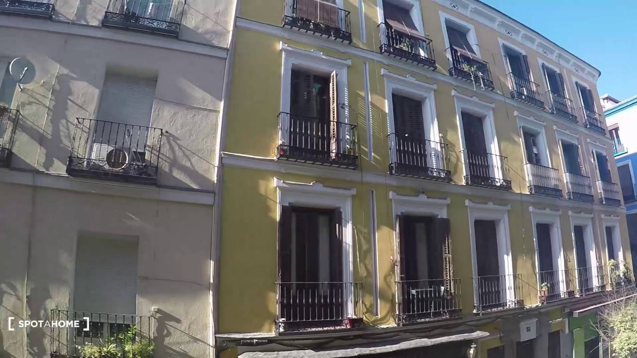 Sunny 4-bedroom apartment with balconies for rent in vibrant Malasana