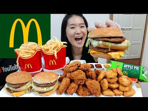 MCDONALD'S FEAST! Big Mac, Chicken McNuggets, McWings Fried Chicken, Apple Pie | Eating Show Mukbang