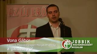 preview picture of video 'Vona Gábor, a JOBBIK elnöke a gazdaságról - Balatonalmádi, 2009.05.24.'