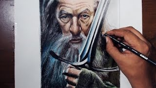 Drawing Gandalf (Ian McKellen) - Lord of the rings - Prismacolor pencils
