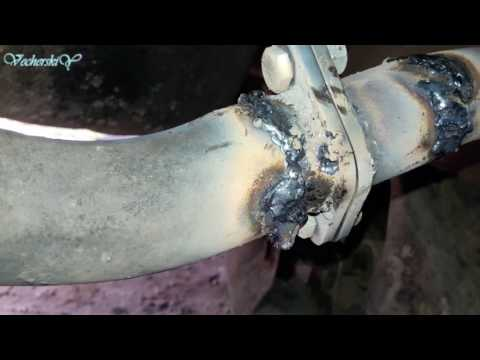 Ремонт соединительного фланца последней банки глушителя на Nissan Almera N16