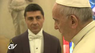 Pope Francis meets film director Martin Scorsese