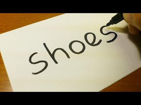 Very Easy How To Turn Words Shoes Into A Cartoon For Kids Drawing