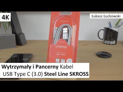Wytrzymały i Pancerny Kabel USB Type C (3.0) Steel Line SKROSS   Rzut Oka