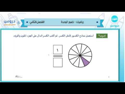 الثاني الابتدائي | الفصل الدراسي الثاني 1438 | الرياضيات | كسور الوحدة