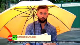 Gone with the wind: Irish weatherman literally blown away on air