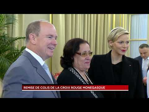 Parcels handed out at Monaco Red Cross by T.S.H. Prince Albert II and Princess Charlene