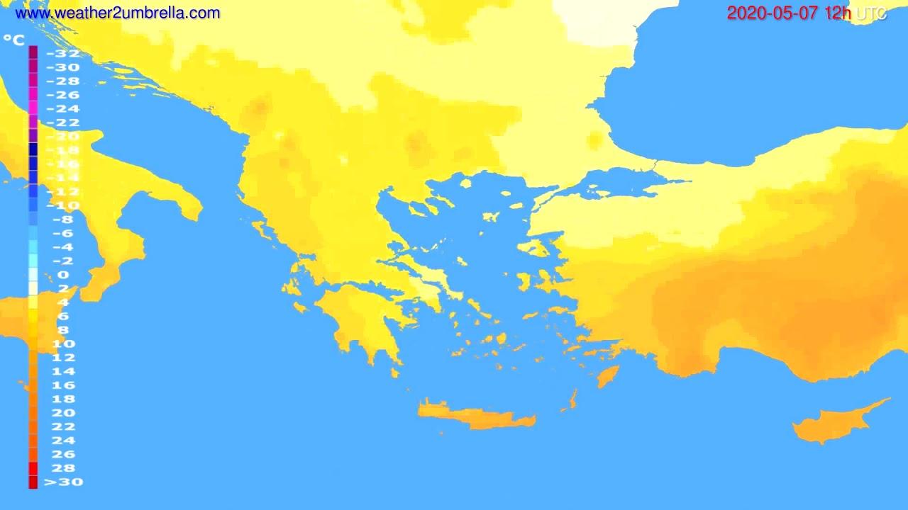 Temperature forecast Greece // modelrun: 00h UTC 2020-05-07