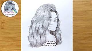 A Girl Wearing A Mask - Pencil Sketch || How To Draw A Girl ||  Maskeli Bir Kız Nasıl çizilir