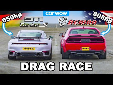 Dodge Challenger Demon v Porsche 911 Turbo S - DRAG RACE