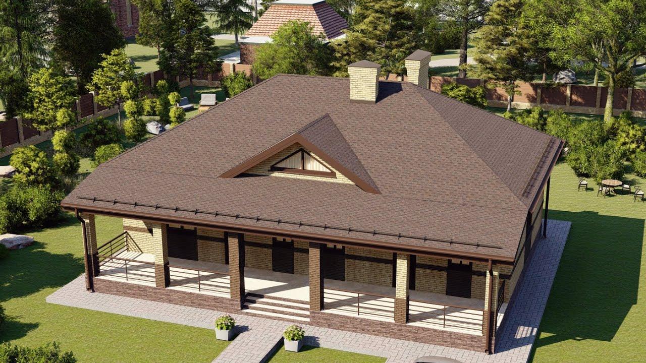 Проект дома 118 м2 с эркером и просторной террасой