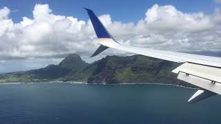 Landing in Lihue Kauai United Airlines 737 beautiful view