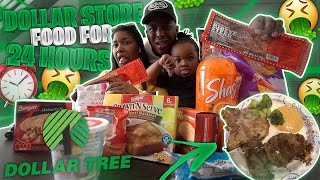 We Only Ate Food From THE DOLLAR STORE For 24 HOURS !!!