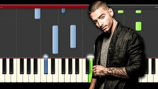 Maluma sin Contrato ft. Fifth Harmony Piano midi sheet partitura cover play