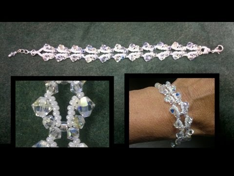 Beading4perfectionists : Butterfly bracelet with Swarovski bicones and seedbeads beading tutorial