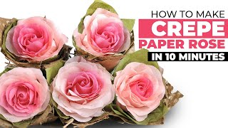 How To Make Crepe Paper Rose In 10 Minutes
