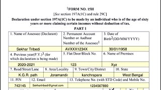 How to fill Form 15H ? [Hindi]