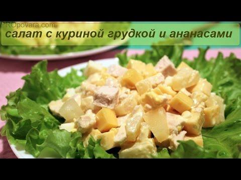 Салат с куриной грудкой и ананасами Просто и Вкусно