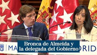 """Bronca entre Almeida y la delegada del Gobierno durante la rueda de prensa: """"Es un cachondeo"""""""