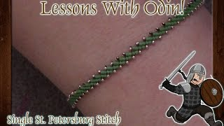 How To Single St. Petersburg Stitch Jewelry Making DIY Tutorial - Lessons With Odin