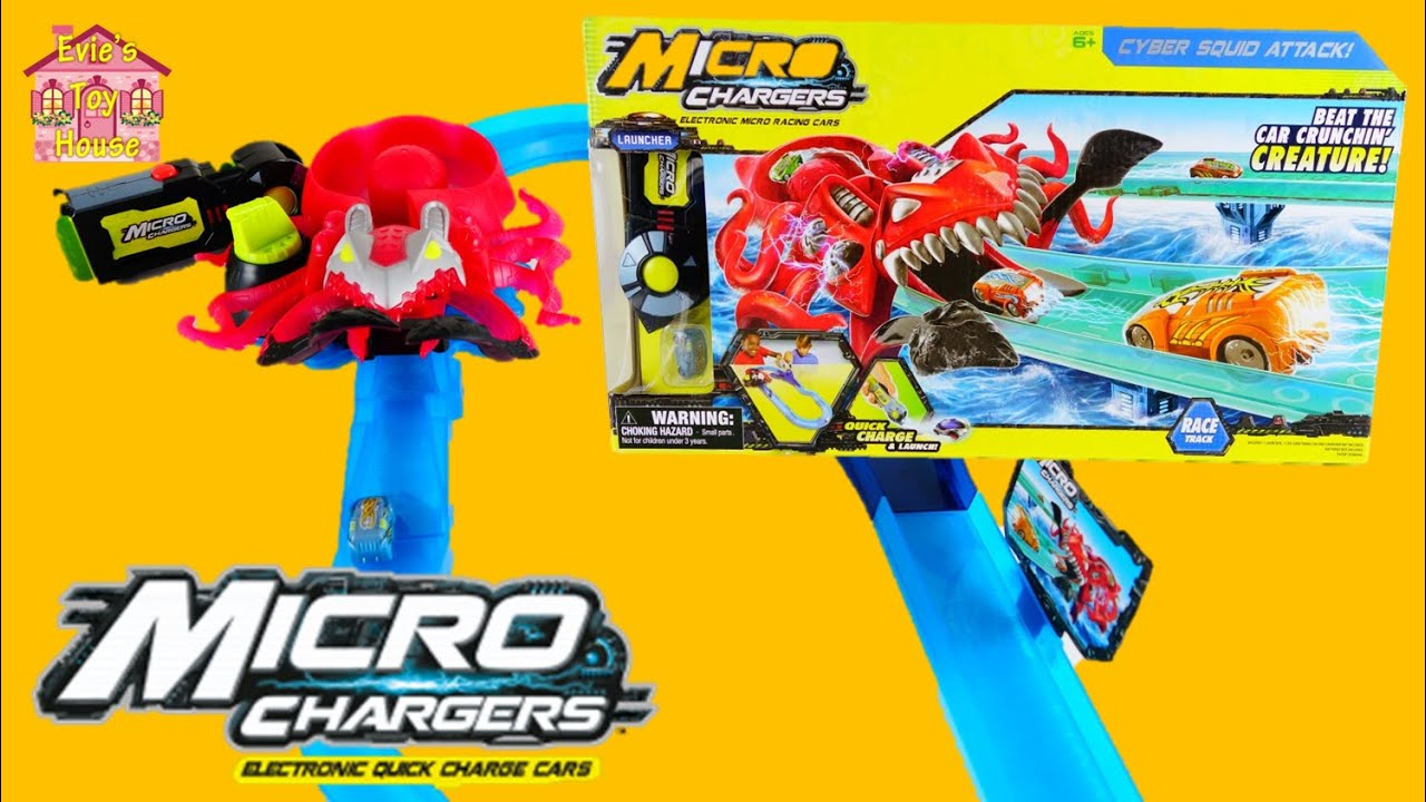 Cyber Squid Attack Micro Chargers Race Track Review | Evies Toy House