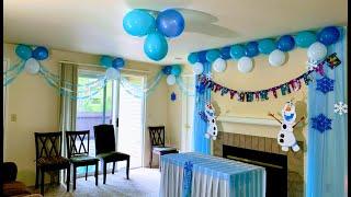 DISNEY FROZEN THEME PARTY DECORATION IDEAS | ELSA Birthday Decorations