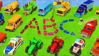 Alphabet lernen mit Krankenwagen, Feuerwehrauto, Bagger & anderen Spielzeugautos | ABC Kinderlieder