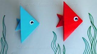 Fische basteln mit Kindern: Ideen Geschenk basteln mit Papier. Leichten Origami Fisch falten.