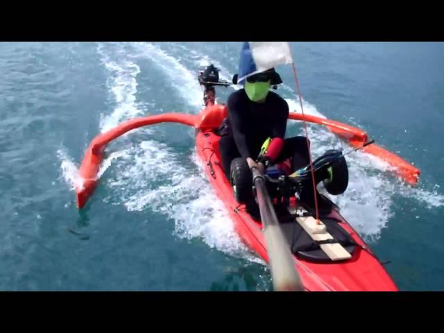 Motorized Kayak + Self-made Outrigger