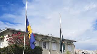 The correct way of hoisting the National Flag to half-mast. (BDF)