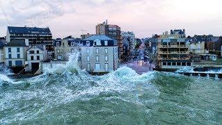 Tempête Eleanor Filmée En Drone - Easy Ride Opérateur Drone - Saint-Malo - Bretagne - France