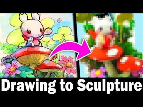 TURNING YOUR ART INTO SCULPTURE #8 Polymer Clay DIY CRAFT Art Challenge