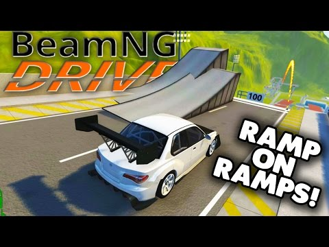 BeamNG - CAR JUMP ARENA MOD! DOUBLE RAMPS! HUGE CRASHES! - BeamNG Drive Gameplay / Highlights
