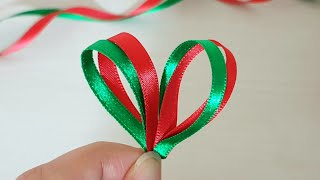 Super Easy Ribbon Flower Making - Christmas Decoration Craft Ideas - Hand Embroidery Tricks