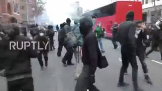 Riot police use tear gas against anti Trump protesters in DC