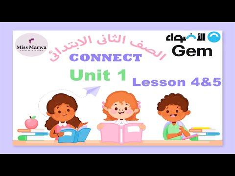 3- كونكت الصف الثاني الابتدائي الترم الاول Connect G2 Term 1 Unit 1 lesson 4&5   Miss Marwa Saeed   English الصف الثانى الابتدائى الترم الاول   طالب اون لاين