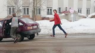 Россия, Ухта, авария на дороге - мегаржач!)))