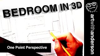 How To Draw A 3D Bedroom In One Point Perspective (Step By Step Tutorial)