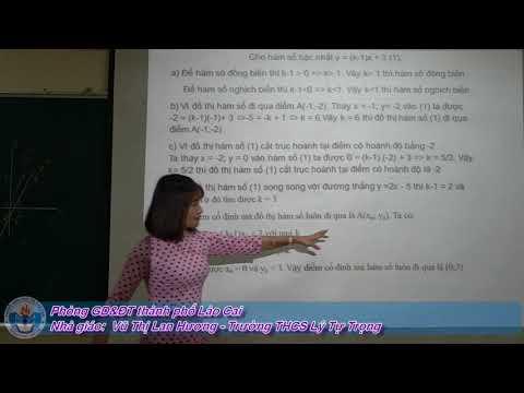 Toán 9: Chuyên đề Ôn tập phần hàm số và đồ thị - Tp Lào Cai