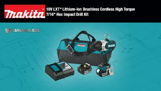 "MAKITA 18V LXT® Brushless 7/16"" Hex Impact Drill Kit - Thumbnail"