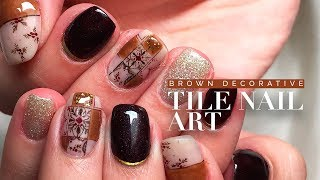 Handpainted Brown Decorative Tile Nail Art | Followthatway