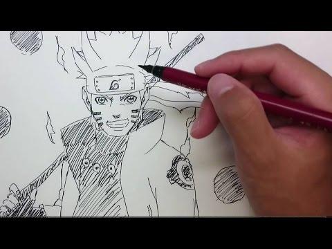 NARUTO 15分でナルト(六道仙人モード)描いてみた Speed drawing Naruto (Sage of The Six Paths)
