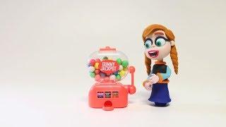 Анна и замороженные Эльза против игрушка gumball машины  мультфильм стоп-Моушн
