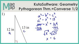 KutaSoftware: Geometry- The Pythagorean Theorem And Its Converse Part 1