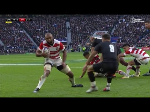 Michael Leitch sidestepping try vs England 2018