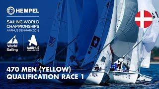 Full 470 Men Yellow Fleet Qualification Race 1 | Aarhus 2018